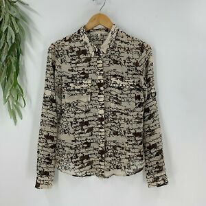 Rachel by Rachel Roy Womens Button Down Sheer Blouse Size 12 Shirt Top Roll Tab