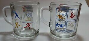 2 Mc Donald's 1984 XXIII Olympics Los Angeles Glass Mugs Vintage Collectible