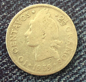 DOMINICAN REPUBLIC 1939 10 CENTAVOS SILVER KEY DATE VERY NICE COIN B1