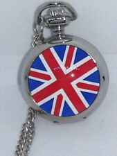 "Watch Silver Necklace Locket Pocket Watch Style Mirror British Flag 30"" Chain"