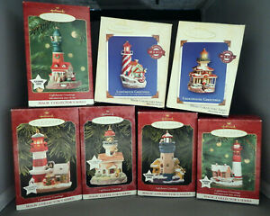 Hallmark Christmas Ornaments, lot of first 7 in Lighthouse Greetings Series