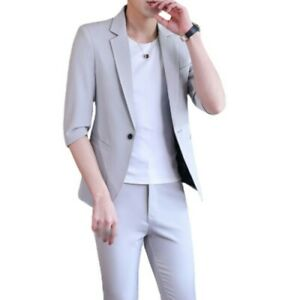 Summer Men's 2PCS Suit One Button Half Sleeve Cropped trousers British style L