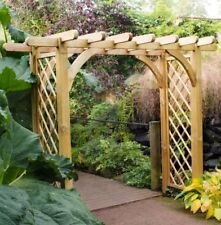 8ft x 4ft WOODEN GARDEN ARCH TIMBER OUTDOOR ARCH PRESSURE TREATED PERGOLA NEW