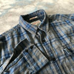Lucky Brand Sz S (15-32) Handsome Blue Plaid Button Down Men Shirt
