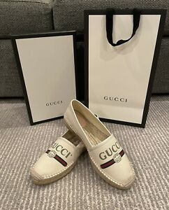 New Authentic GUCCI Leather-trimmed logo-print canvas espadrilles White 39 39.5