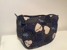 RADLEY NAVY BLUE HEARTS LARGE COSMETIC BAG NWT