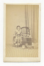 1860's CDV PHOTO GERMAN TOY CLOWN ON WOOD BASE, WOOD OX CART, WHIPPET TOY, DRUM