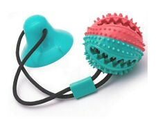 Dog Toy - Rope Dispensing Ball with Suction Cup- Dog squeaky toy- Dog Toothbrush