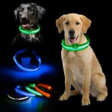 Seguridad ajustable mascotas perros LED nocturna intermitente Nylon collar USB