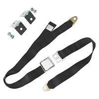 2-Point Airplane Buckle Lap Seat Belt Kit w Anchor Plate Hardware Pack, Black