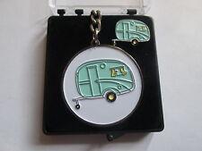 Vintage Caravan Keyring and Lapel Pin Set FREE PRESENTATION BOX