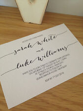 25 x personalizzato FATTO A MANO CALLIGRAFIA wedding invitations & 25 x RSVP CARDS