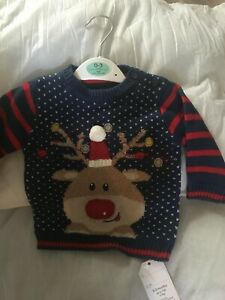"""Navy Rudolph Xmas Jumper Outfit 0-3 Month Baby Size Or 20""""  Reborn Doll Clothes"""