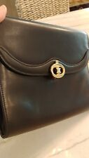 Authentic CELINE Logos Clutch Hand Bag Black Leather Vintage Italy