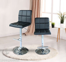 HOMCOM Barstool Pub Set of 2 Bar Stool Modern PU Leather 360 Swivel Chair Chrome