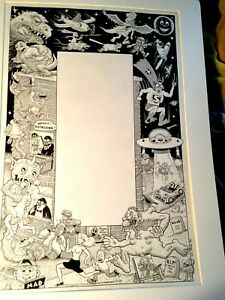 "Kim Deitch Original Art EC Tribute Blab 1 Contents page signed 1986 18"" x 22"" VF"