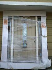 """NEW 36""""x79"""" Tan FIBERGLASS Exterior FRONT DOOR w/ 12"""" Side-Transoms (64x81)"""