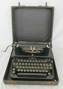 VINTAGE SMITH CORONA  MODEL S PORTABLE TYPEWRITER with CASE 1930s FLAT TOP