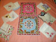 Lot 11 Vintage Hankies Most Floral, plus 2 Berlin Germany c 1960's,