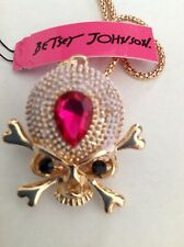 "HALLOWEEN SKULL W/ PINK CRYSTAL  28"" Pendant Necklace Betsey Johnson+"
