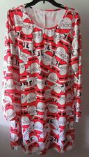 Santa Print Christmas Dress Red White Black Long Sleeve Xmas XXL Swing Flared