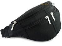 BLACK Waist BUM BAG fanny pack travel GOOD quality 4 zips Mens Ladies Unisex NEW