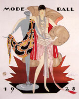 POSTER 1928 FASHION LADY GIRL DRESS MODE BALL FRENCH VINTAGE REPRO FREE S/H