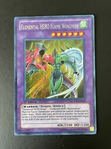 YuGiOh 1st Edition LCGX-EN045 Elemental HERO Flame Wingman Secret Rare Card NM