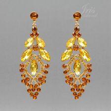 18k Vergoldet Vergoldete Topas Kristall Strass Hochzeit Tropfen-Ohrringe 05521