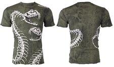 Affliction Mens S/S T-Shirt SKELETAL Snake Skin GREEN Biker Vintage S-3XL $58