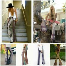 Womens Stretch High Waist Trousers Flared Legging Palazzo Bell Bottom Boho Pants