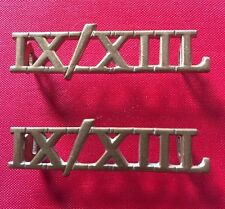 PAIR 9TH / 12TH LANCERS SHOULDER TITLES - 100% ORIGINAL GUARANTEED!!