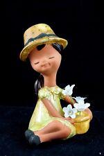 Vtg Ceramic Big Bonnet Girl Mold Figure Yellow & Green Removable Flowers Statue