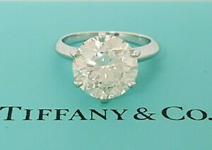 4.10 ct Tiffany & Co Platinum Round Diamond Solitaire Engagement Ring Rtl $175k