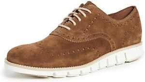 Mens Cole Haan Zerogrand Wingtip Oxford - Bourbon/Ivory Suede, Size 7 [C30276]