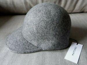 STELLA McCARTNEY WOOL HAT  GREY FELTED WOOL BASEBALL CAP Size 57  NEW & TAG