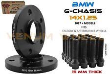 Pair Of 15mm BMW 5x112 Black Hub Centric Wheel Spacers 66.56 + Lug Bolts 14x1.25