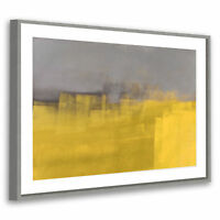 Retro Grey Yellow Modern Abstract Framed Wall Art Large Picture Prints