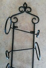 Black Tuscan Style Wrought Iron Wall Wine Rack ~ Holds 5 Bottles