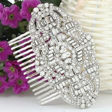 Bridal The Great Gatsby Hair Comb Accessory Clear Rhinestone Crystal Art Deco