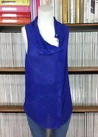 ALL SAINTS top blouse shirt 100% silk draped distressed asymmetric UK 10 US 6