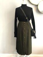 VINTAGE St Michaels 80's Midi Skirt Size 10 Pleated Button Through Khaki VGC