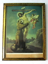 Old vintage Catholic icon of St.Francis and  Jesus Christ