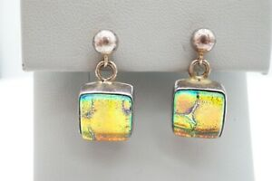 Sterling Silver 925 Pink Blue Iridescent Dichroic Glass Ball Stud Earrings