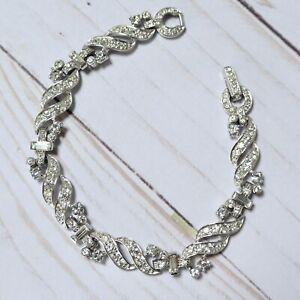Vintage 1950s Clear Rhinestone Link Bracelet Swirl Design UNSIGNED BEAUTY