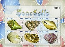 Palau 2009 MNH Seashells Sea Shells Pugilina Epitonium 6v M/S Marine Stamps