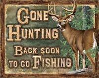 """Deer Hunting Rustic Retro Tin Metal Sign 16""""Wx12.5""""H"""