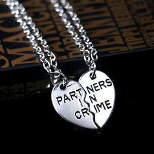 Hot Break Heart 2-Piece Silver Best Friend Forever Friendship Pendant Necklace