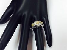 Champagne ,black,white Diamonds, 14k, Gold,sterling silver band,ring,.50ctw