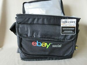 New Rare eBay Social Insulated Lunch Bag Black Adjustable Front Pocket